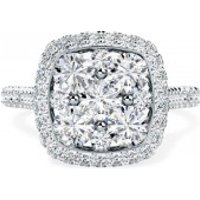 A stunning round brilliant cut cushion shaped halo diamond ring in 18ct white gold - Cushion Gifts