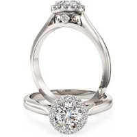 A stunning Round brilliant cut diamond Halo ring in 18ct white gold - Halo Gifts