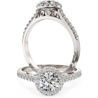 A stunning Round brilliant cut diamond Halo ring with shoulder stones in 18ct white gold - Halo Gifts