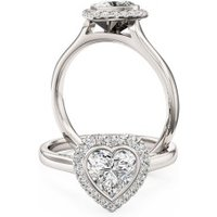 A beautiful Heart shaped diamond halo cluster ring in 18ct white gold - Halo Gifts
