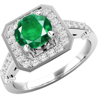 A beautiful emerald & diamond cluster style ring in 18ct white gold - Beautiful Gifts