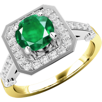 A beautiful emerald & diamond cluster style ring in 18ct yellow & white gold - Beautiful Gifts