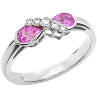 A stunning Pink Sapphire & Diamond ring in 18ct white gold (In stock) - Wedding Gifts