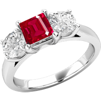 A stunning ruby & diamond ring three stone ring in 18ct white gold - Ruby Gifts