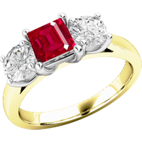 A stunning ruby & diamond ring three stone ring in 18ct yellow & white gold - Ruby Gifts
