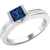 A unique Square Cut Sapphire and Diamond ring with shoulder stones in 18ct white gold - Unique Gifts