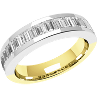 An elegant Baguette Cut diamond set wedding ring in 18ct yellow & white gold - Elegant Gifts