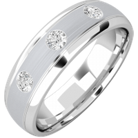 A classic Round Brilliant Cut diamond set mens ring in 18ct white gold - White Gold Gifts