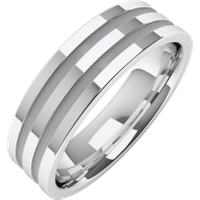 A classic double grooved mens ring in 18ct white gold - White Gold Gifts