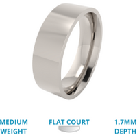 A classic flat court mens ring in medium 18ct white gold - White Gold Gifts