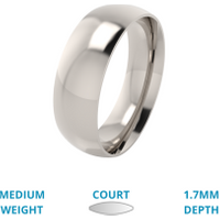 A classic courted mens ring in medium 18ct white gold - White Gold Gifts
