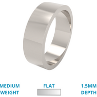 A classic flat top mens ring in medium 18ct white gold - White Gold Gifts