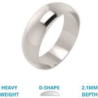 A stylish D shaped mens ring in heavy 18ct white gold - White Gold Gifts