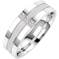 A stunning Princess Cut diamond set mens wedding ring in 18ct white gold - Wedding Ring Gifts