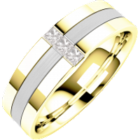 A stunning Princess Cut diamond set mens wedding ring in 18ct yellow & white gold - Diamond Gifts