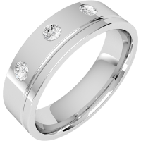 A stylish Round Brilliant Cut diamond set mens ring in 18ct white gold - White Gold Gifts
