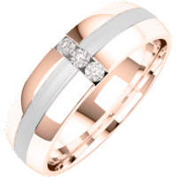 A striking Round Brilliant Cut diamond set mens ring in 18ct rose & white gold - Diamond Gifts