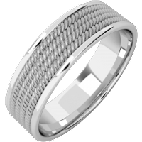 A stylish courted mixed finish mens wedding ring in 18ct white gold - Wedding Ring Gifts