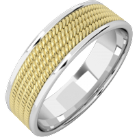 A stylish courted mixed finish mens wedding ring in 18ct yellow & white gold - Wedding Ring Gifts