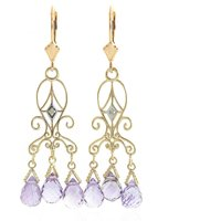 Amethyst Baroque Drop Earrings 4.81 ctw in 9ct Gold