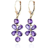 Amethyst Blossom Drop Earrings 5.32 ctw in 9ct Gold