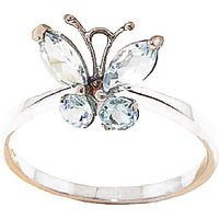 Aquamarine Butterfly Ring 0.6 ctw in 9ct Rose Gold - Butterfly Gifts