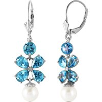 Click to view product details and reviews for Blue Topaz Pearl Blossom Drop Earrings in 9ct White Gold.