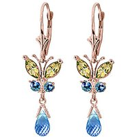 Blue Topaz & Peridot Butterfly Drop Earrings in 9ct Rose Gold - Butterfly Gifts