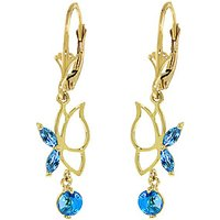 Blue Topaz Butterfly Drop Earrings 0.35ctw in 9ct Gold - Gold Gifts