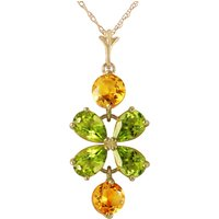 Peridot and Citrine Blossom Pendant Necklace 3.15ctw in 9ct Gold - Fashion Gifts