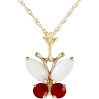Click to view product details and reviews for Opal and Ruby Butterfly Pendant Necklace 07ctw in 9ct Gold.