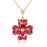 Pink Topaz Four Leaf Clover Heart Pendant Necklace 3.8ctw in 9ct Gold - Pink Gifts