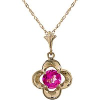 Pink Topaz Corona Pendant Necklace 0.55ct in 9ct Gold - Pink Gifts