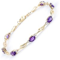 Amethyst and Diamond Classic Tennis Bracelet 2.95ctw in 9ct Gold - Sport Gifts