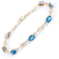 Blue Topaz and Diamond Classic Tennis Bracelet 3.38ctw in 9ct Gold - Sport Gifts