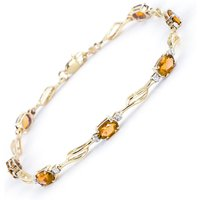 Citrine and Diamond Classic Tennis Bracelet 3.38ctw in 9ct Gold - Sport Gifts