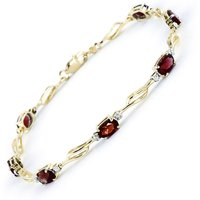 Garnet and Diamond Classic Tennis Bracelet 3.38ctw in 9ct Gold - Jewellery Gifts