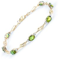 Peridot and Diamond Classic Tennis Bracelet 3.38ctw in 9ct Gold - Sport Gifts