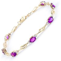Pink Topaz and Diamond Classic Tennis Bracelet 3.38ctw in 9ct Gold - Pink Gifts