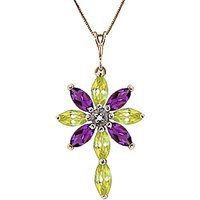 Peridot, Diamond and Amethyst Flower Cross Pendant Necklace 1.98ctw in 9ct Gold - Fashion Gifts