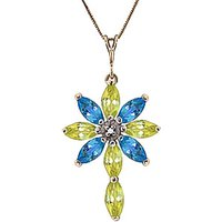 Peridot, Diamond and Blue Topaz Flower Cross Pendant Necklace 1.98ctw in 9ct Gold - Fashion Gifts