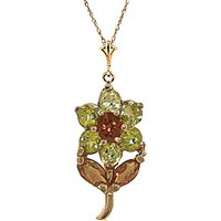 Peridot and Citrine Flower Petal Pendant Necklace 1.06ctw in 9ct Gold - Fashion Gifts