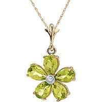 Peridot and Diamond Flower Petal Pendant Necklace 2.2ctw in 9ct Gold - Fashion Gifts