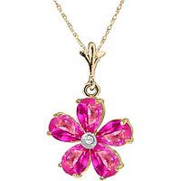 Pink Topaz and Diamond Flower Petal Pendant Necklace 2.2ctw in 9ct Gold - Pink Gifts