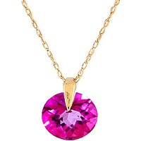 Round Brilliant Cut Pink Topaz Pendant Necklace 1.0ct in 9ct Gold - Pink Gifts
