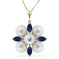 Sapphire and Pearl Pendant Necklace 6.3ctw in 9ct Gold - Qp Jewellers Gifts