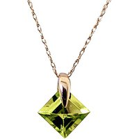 Square Cut Peridot Pendant Necklace 1.16ct in 9ct Gold - Fashion Gifts