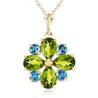Peridot and Blue Topaz Sunflower Pendant Necklace 2.43ctw in 9ct Gold - Fashion Gifts