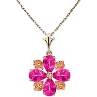 Pink Topaz and Citrine Sunflower Pendant Necklace 2.43ctw in 9ct Gold - Pink Gifts