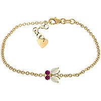 Click to view product details and reviews for Opal and Ruby Adjustable Butterfly Bracelet 06ctw in 9ct Gold.